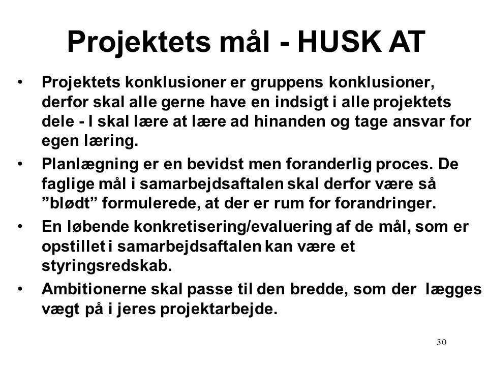 Projektets mål - HUSK AT