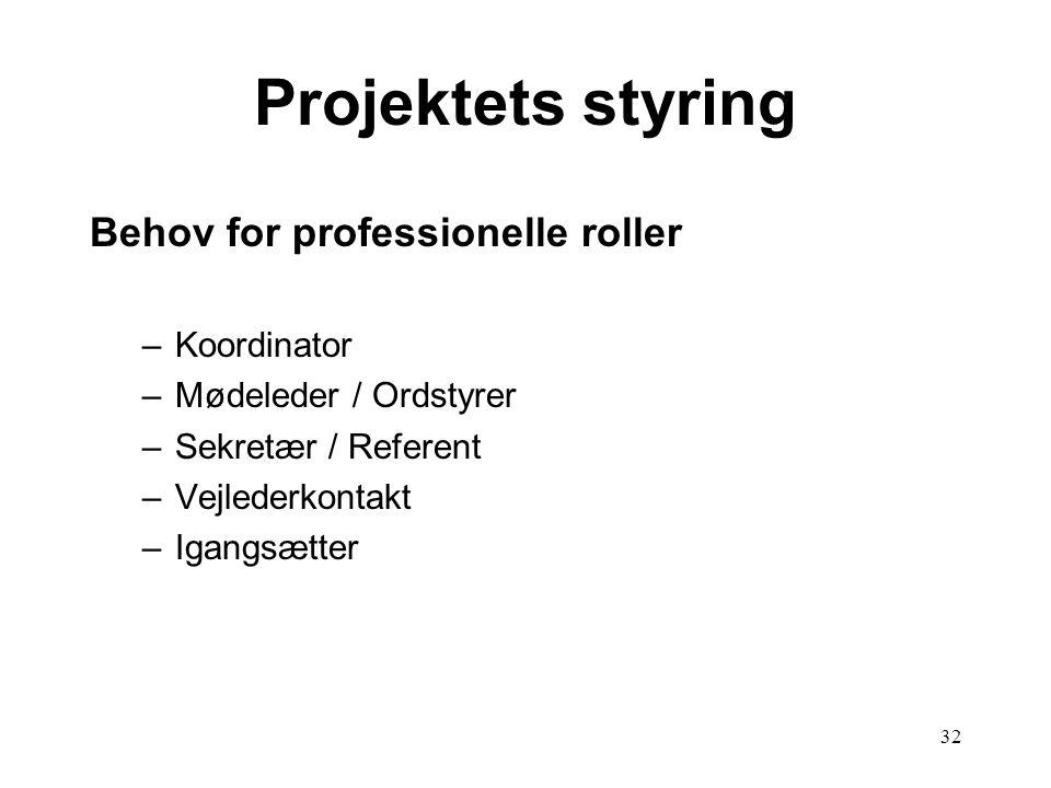 Projektets styring Behov for professionelle roller Koordinator