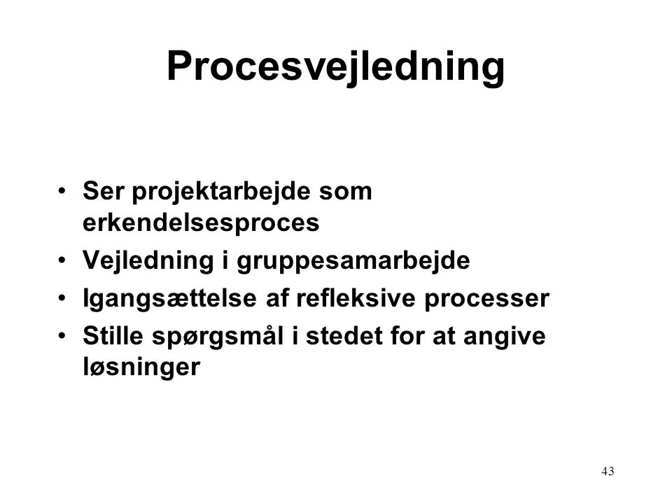 Procesvejledning Ser projektarbejde som erkendelsesproces