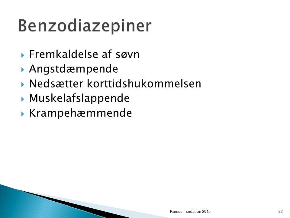 Benzodiazepiner Fremkaldelse af søvn Angstdæmpende