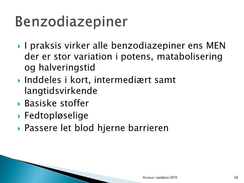 Benzodiazepiner I praksis virker alle benzodiazepiner ens MEN der er stor variation i potens, matabolisering og halveringstid.
