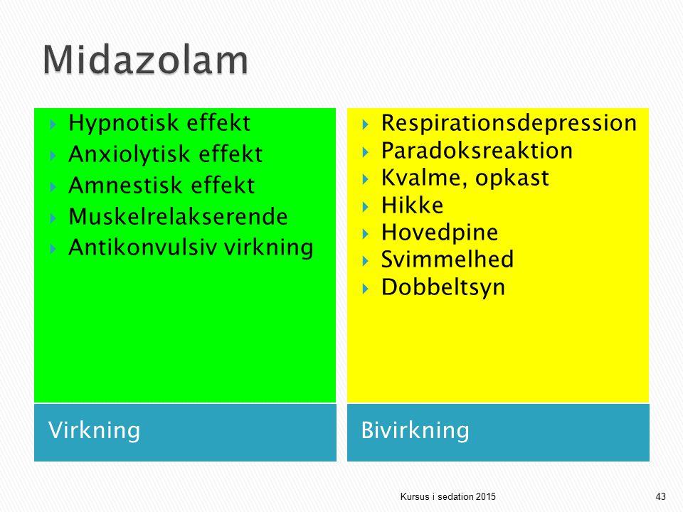 Midazolam Hypnotisk effekt Anxiolytisk effekt Amnestisk effekt