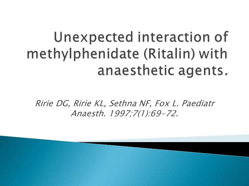 Unexpected interaction of methylphenidate (Ritalin) with anaesthetic agents.