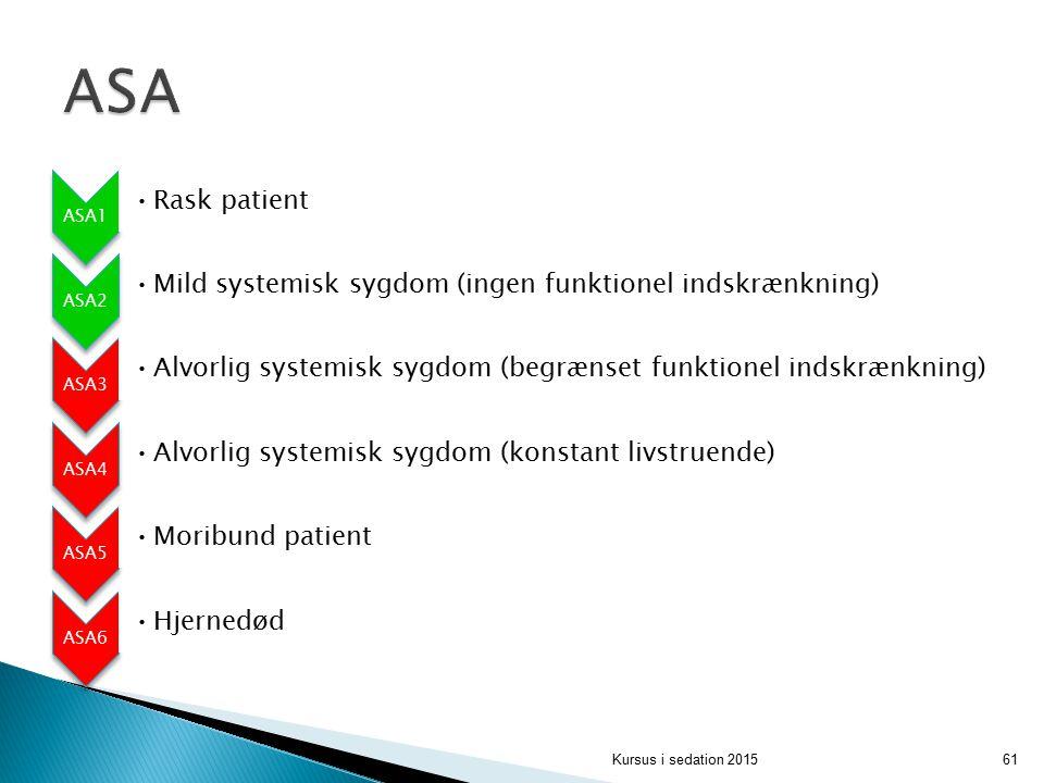 ASA ASA1. Rask patient. ASA2. Mild systemisk sygdom (ingen funktionel indskrænkning) ASA3.