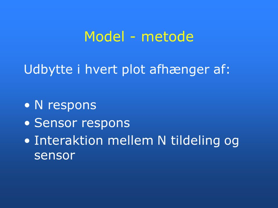 Model - metode Udbytte i hvert plot afhænger af: N respons
