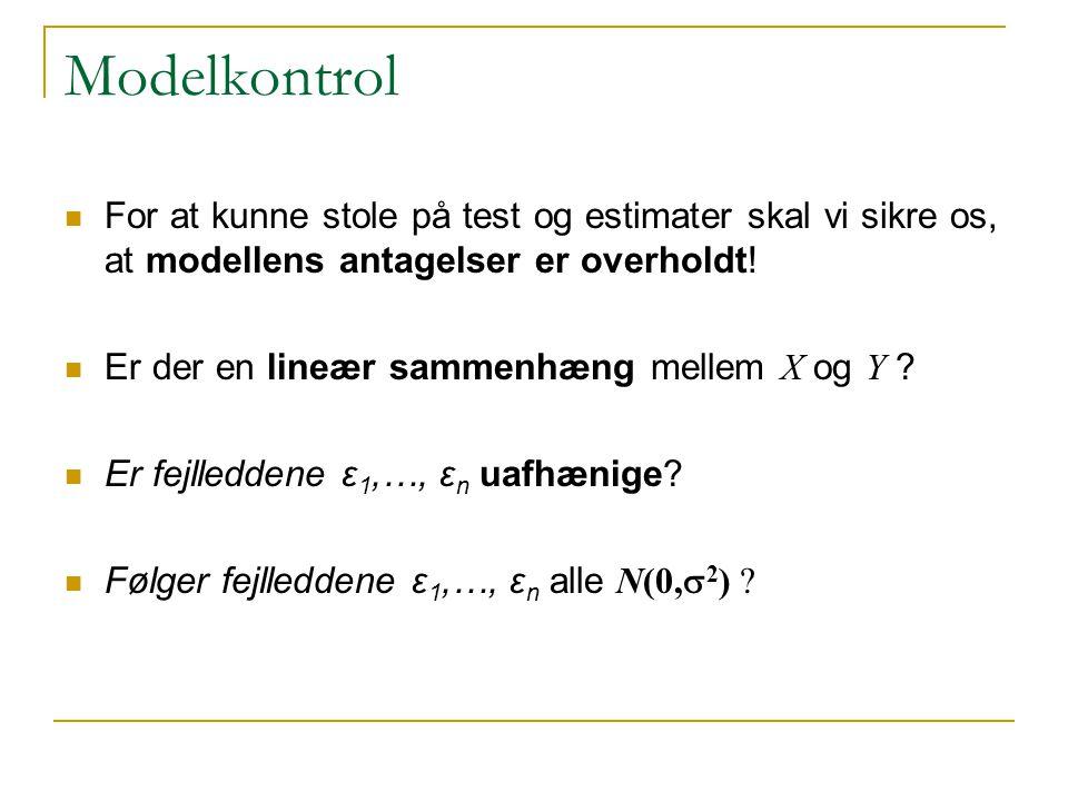 Modelkontrol For at kunne stole på test og estimater skal vi sikre os, at modellens antagelser er overholdt!