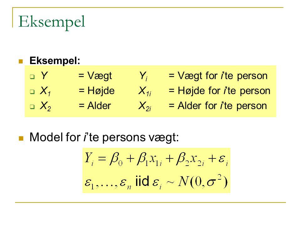 Eksempel Model for i'te persons vægt: Eksempel: