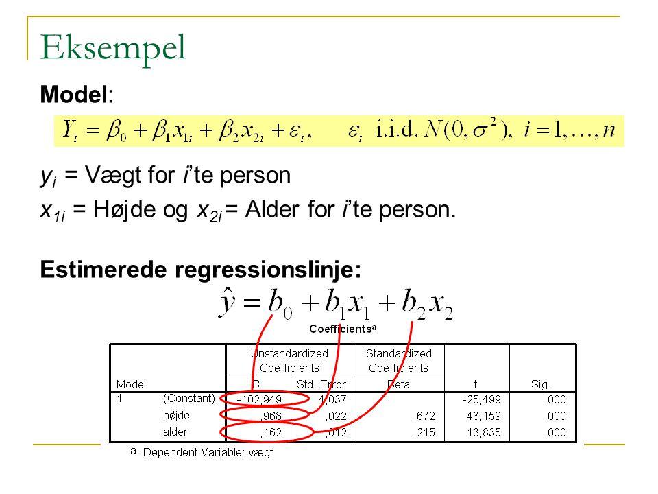Eksempel Model: yi = Vægt for i'te person