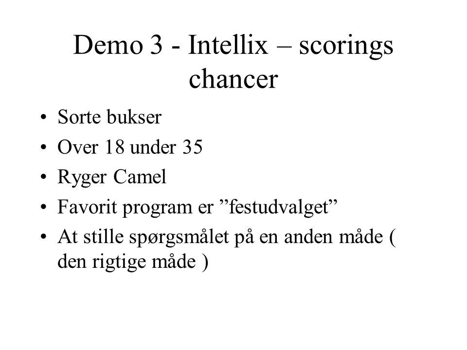 Demo 3 - Intellix – scorings chancer
