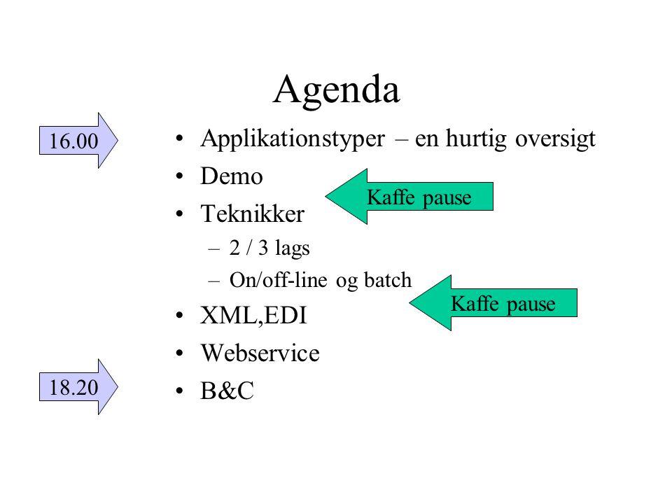 Agenda Applikationstyper – en hurtig oversigt Demo Teknikker XML,EDI