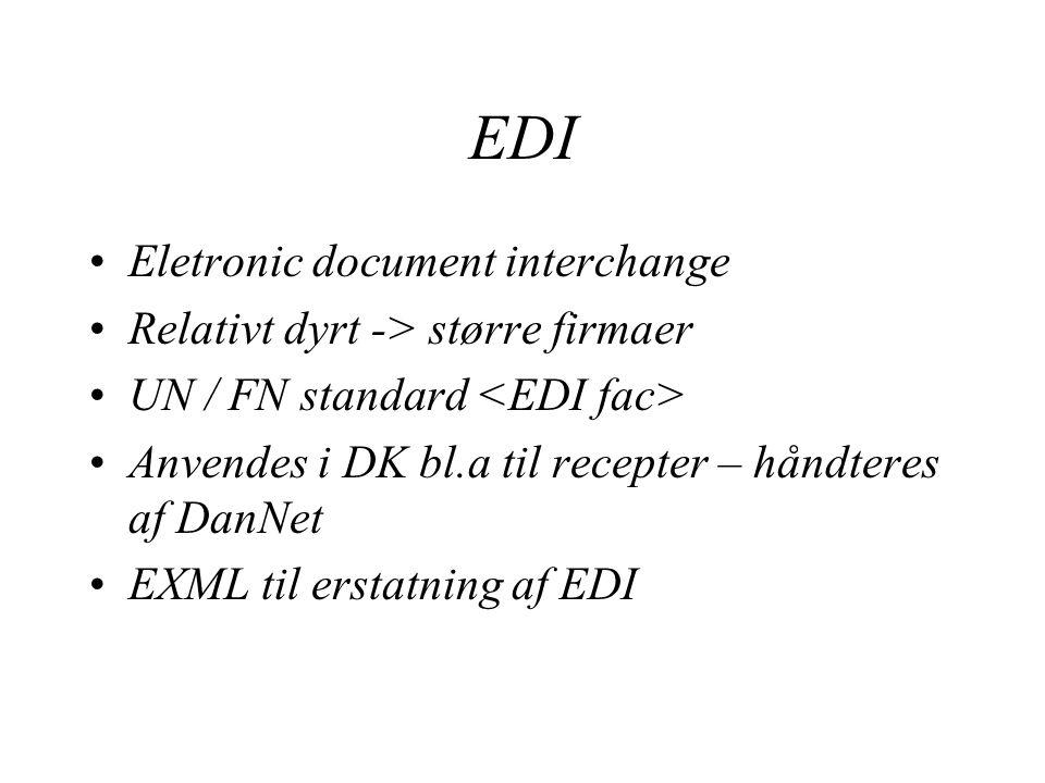 EDI Eletronic document interchange Relativt dyrt -> større firmaer