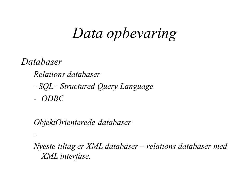 Data opbevaring Databaser Relations databaser