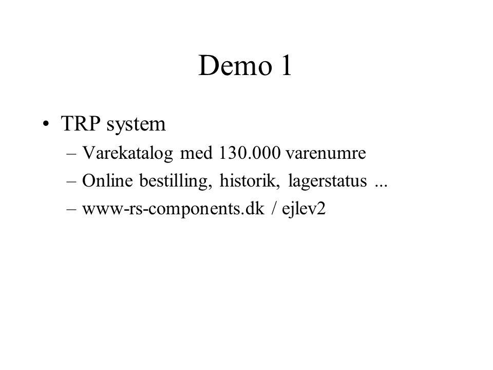 Demo 1 TRP system Varekatalog med 130.000 varenumre