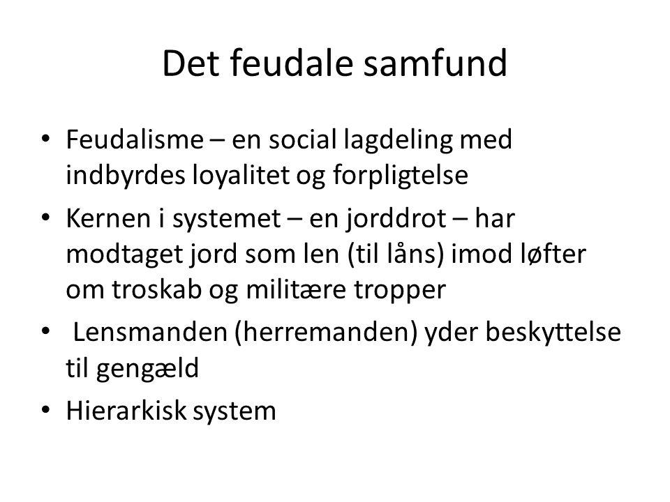 Det feudale samfund Feudalisme – en social lagdeling med indbyrdes loyalitet og forpligtelse.