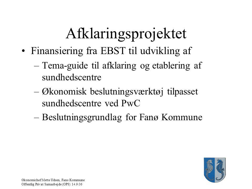 Afklaringsprojektet Finansiering fra EBST til udvikling af