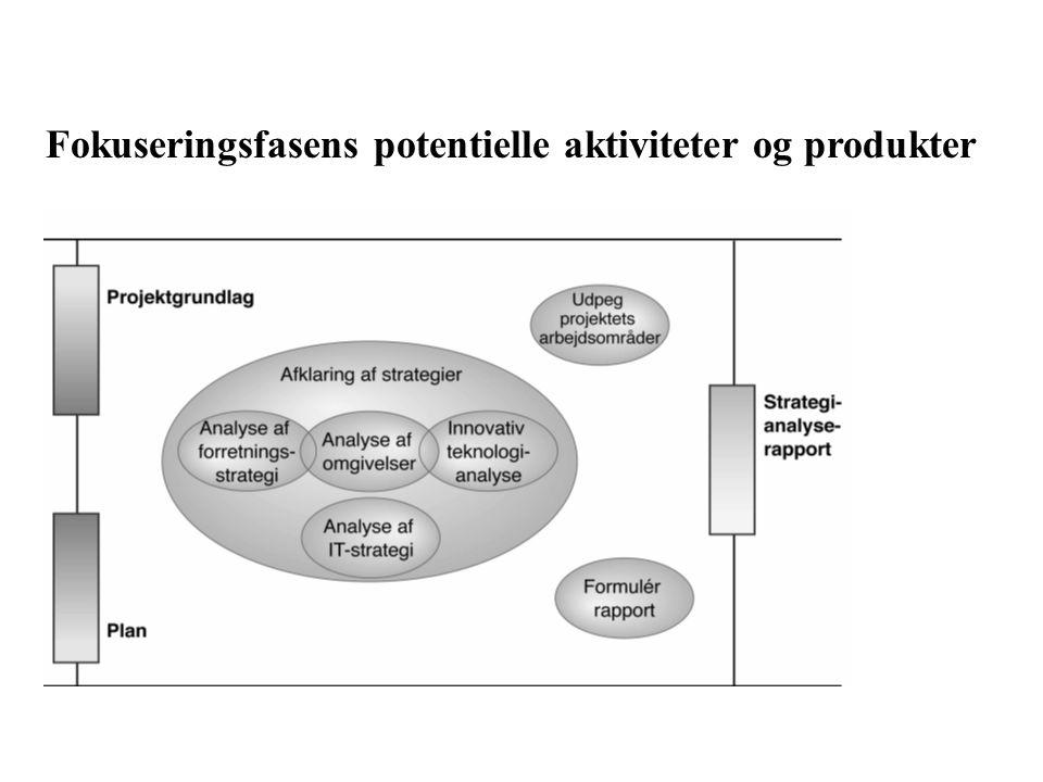 Fokuseringsfasens potentielle aktiviteter og produkter