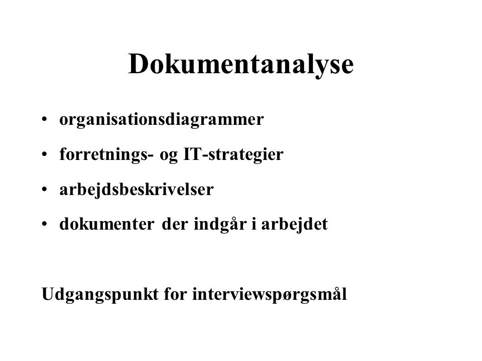 Dokumentanalyse organisationsdiagrammer forretnings- og IT-strategier