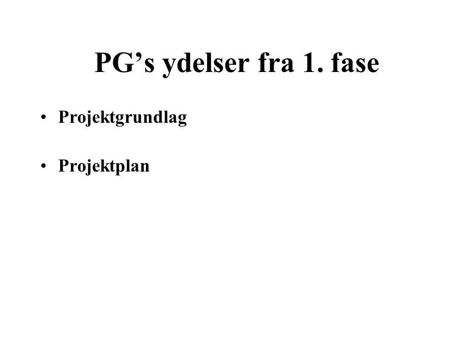 PG's ydelser fra 1. fase Projektgrundlag Projektplan