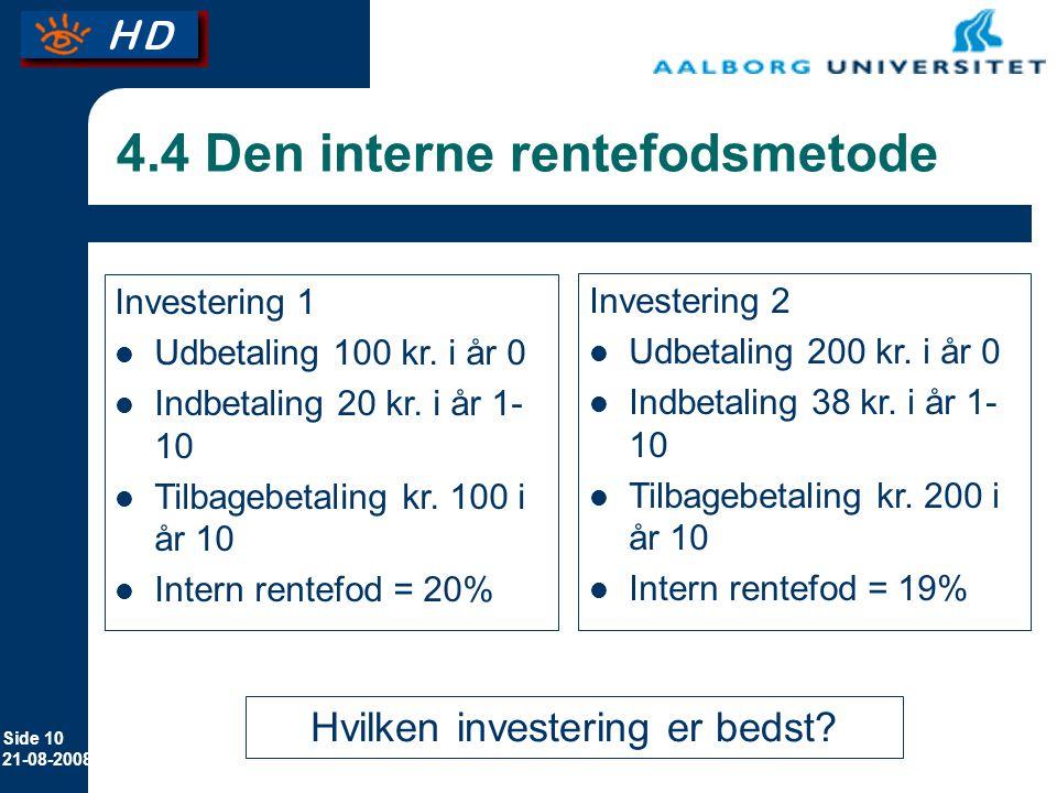 4.4 Den interne rentefodsmetode