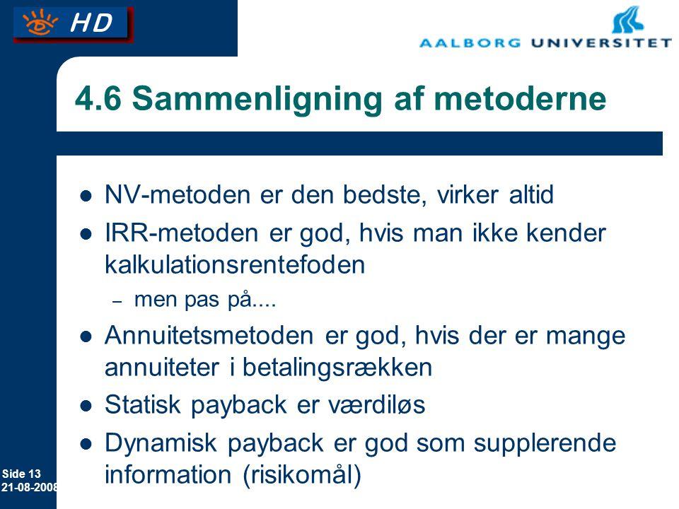 4.6 Sammenligning af metoderne