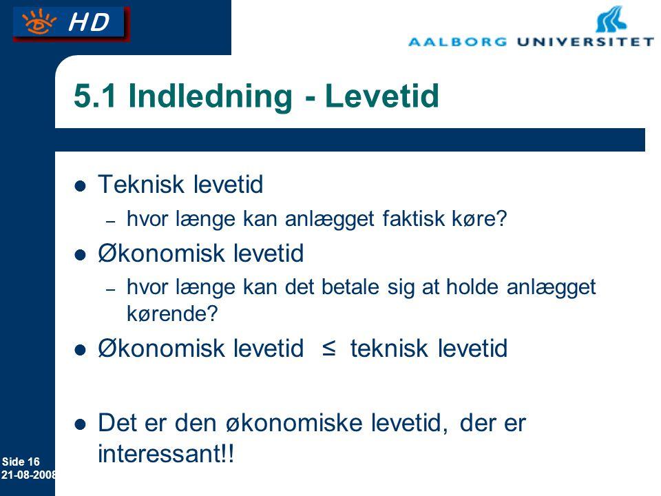 5.1 Indledning - Levetid Teknisk levetid Økonomisk levetid
