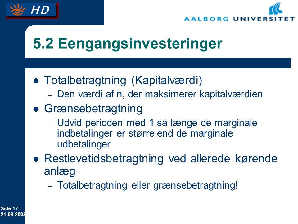 5.2 Eengangsinvesteringer