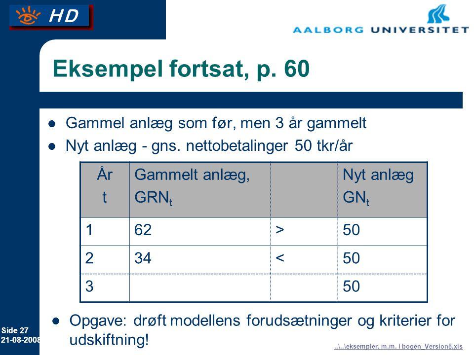 Eksempel fortsat, p. 60 Gammel anlæg som før, men 3 år gammelt