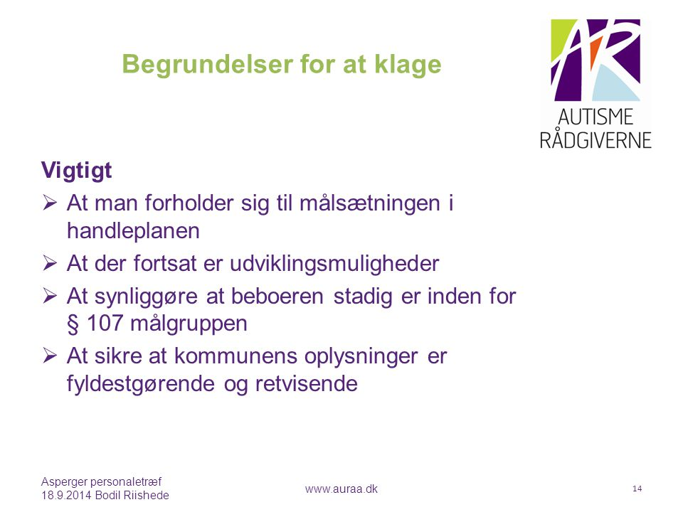 Begrundelser for at klage