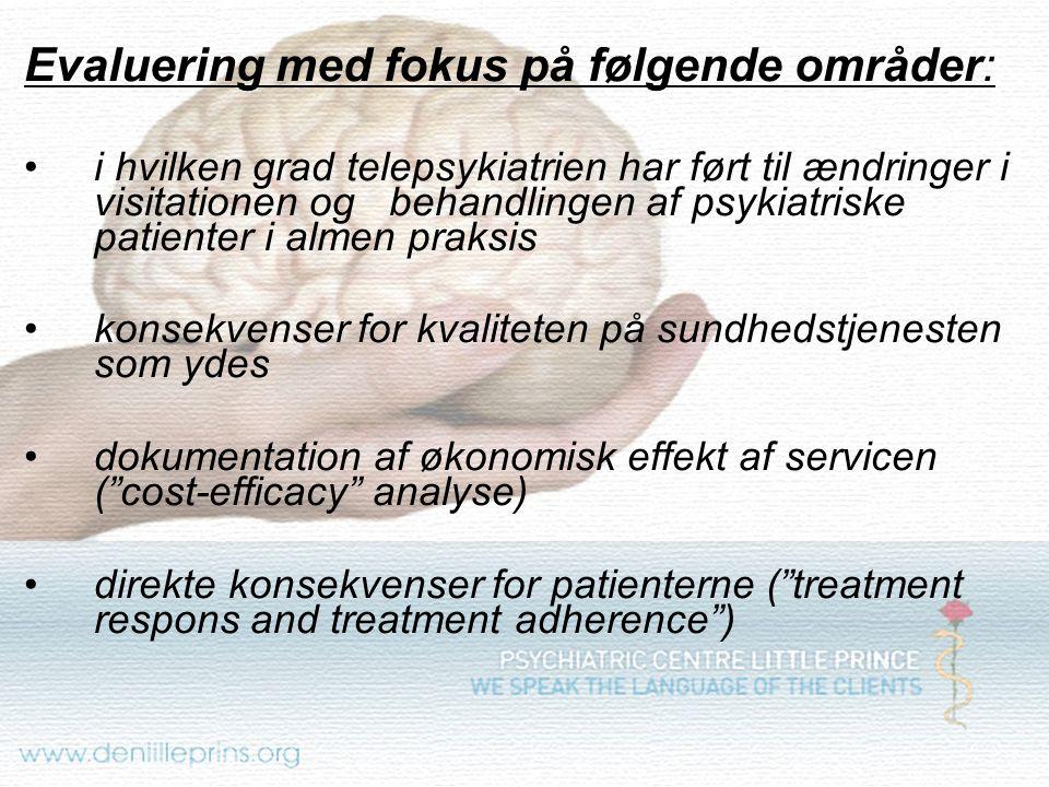 Evaluering med fokus på følgende områder: