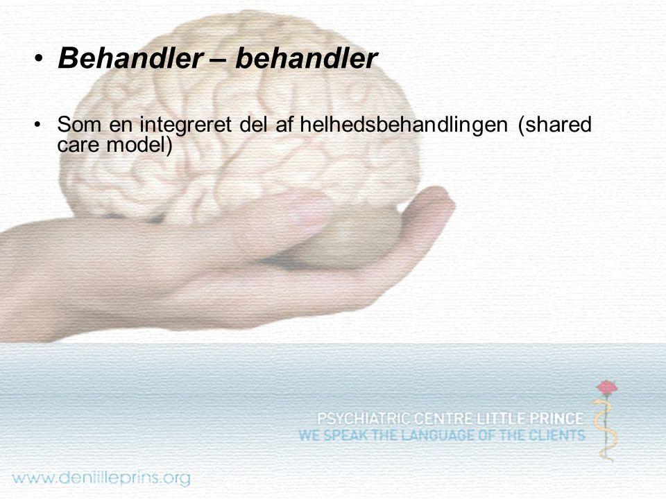 Behandler – behandler Som en integreret del af helhedsbehandlingen (shared care model)