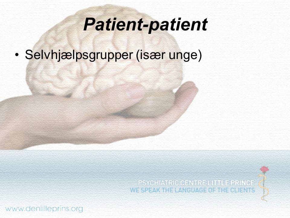 Patient-patient Selvhjælpsgrupper (især unge)