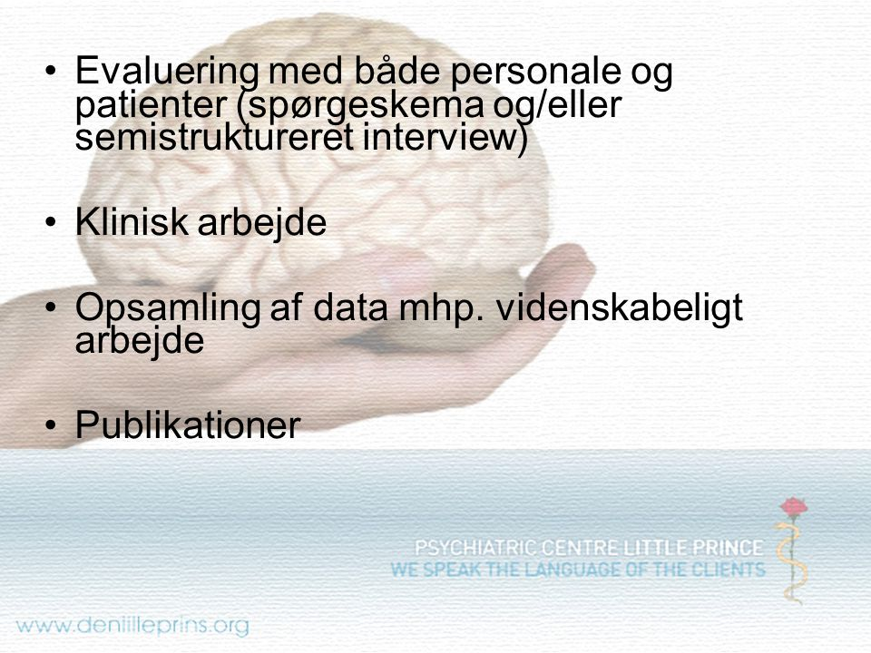 Evaluering med både personale og patienter (spørgeskema og/eller semistruktureret interview)