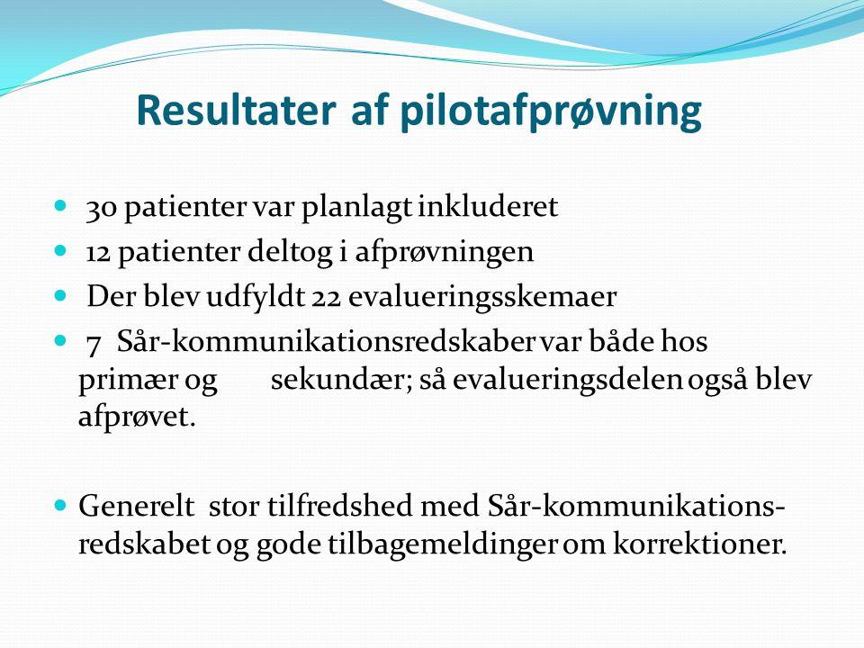 Resultater af pilotafprøvning