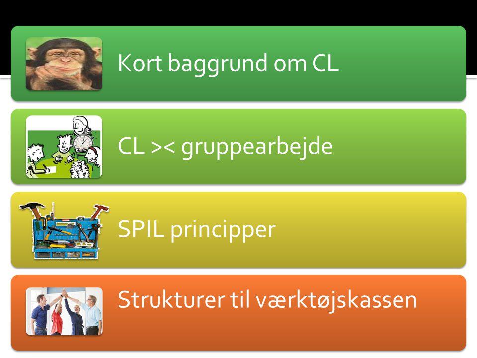 Vision for dagen: Kort baggrund om CL. CL >< gruppearbejde. SPIL principper. Strukturer til værktøjskassen.