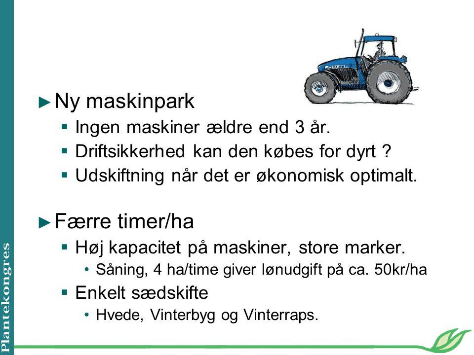Ny maskinpark Færre timer/ha Ingen maskiner ældre end 3 år.