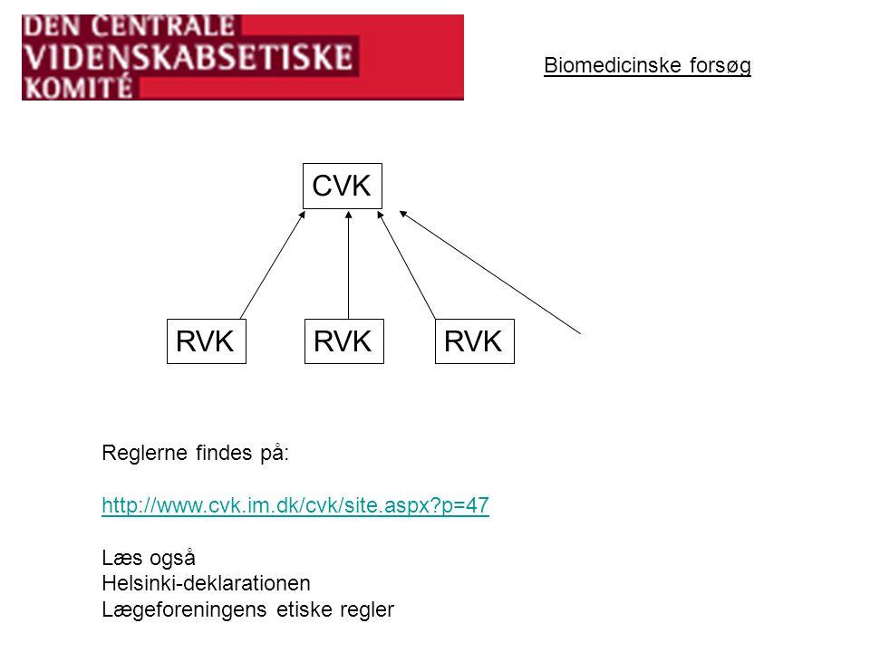 CVK RVK RVK RVK Biomedicinske forsøg Reglerne findes på: