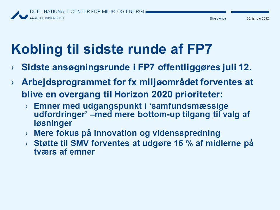 Kobling til sidste runde af FP7