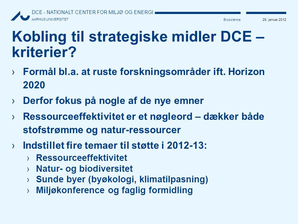 Kobling til strategiske midler DCE – kriterier