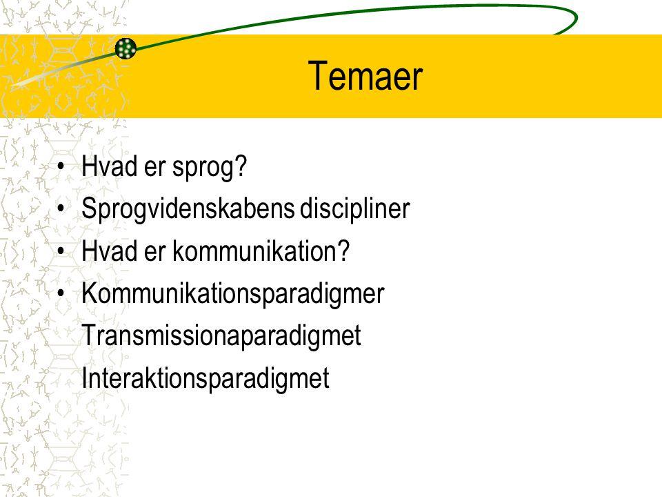 Temaer Hvad er sprog Sprogvidenskabens discipliner