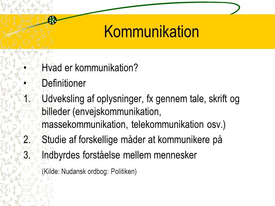 Kommunikation Hvad er kommunikation Definitioner