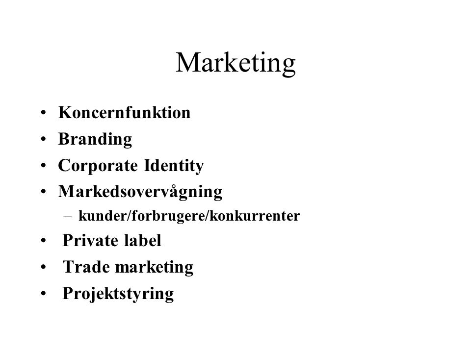 Marketing Koncernfunktion Branding Corporate Identity
