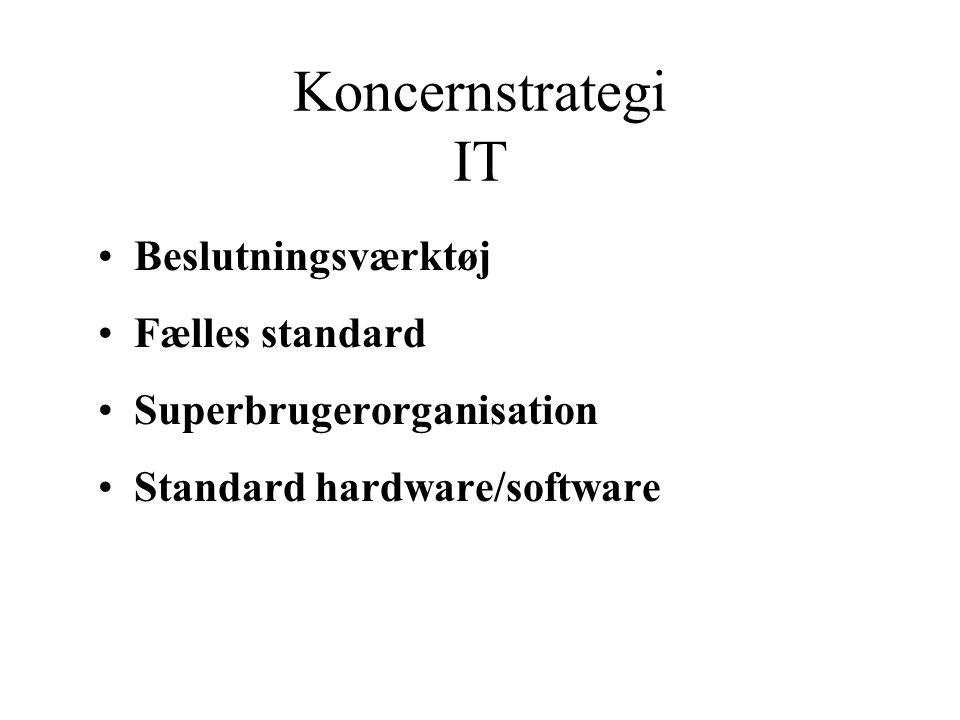 Koncernstrategi IT Beslutningsværktøj Fælles standard