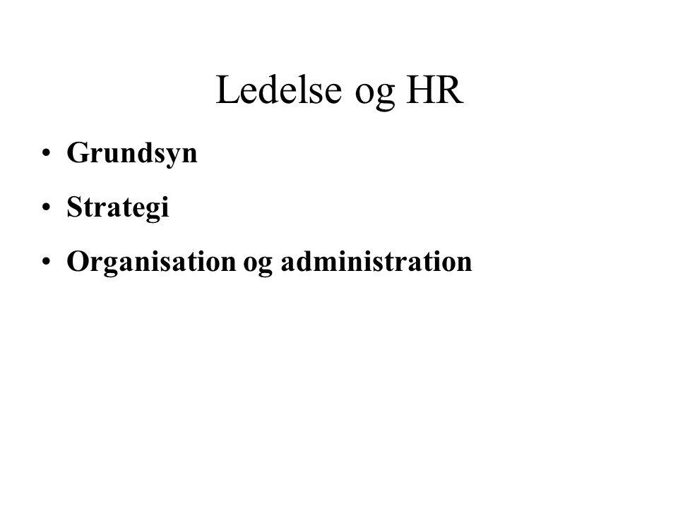 Ledelse og HR Grundsyn Strategi Organisation og administration