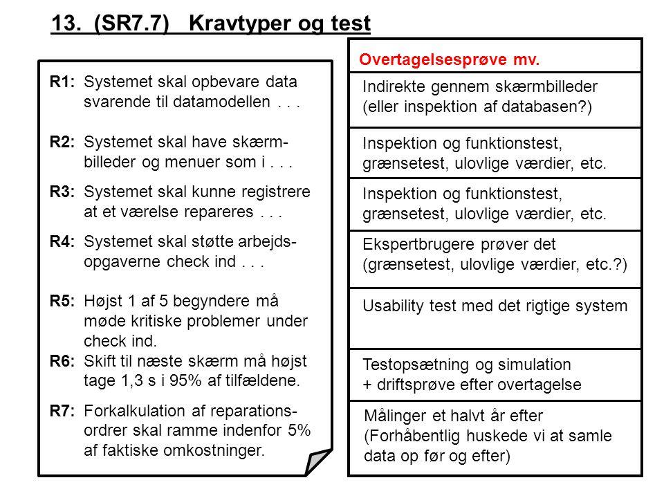 13. (SR7.7) Kravtyper og test Overtagelsesprøve mv.