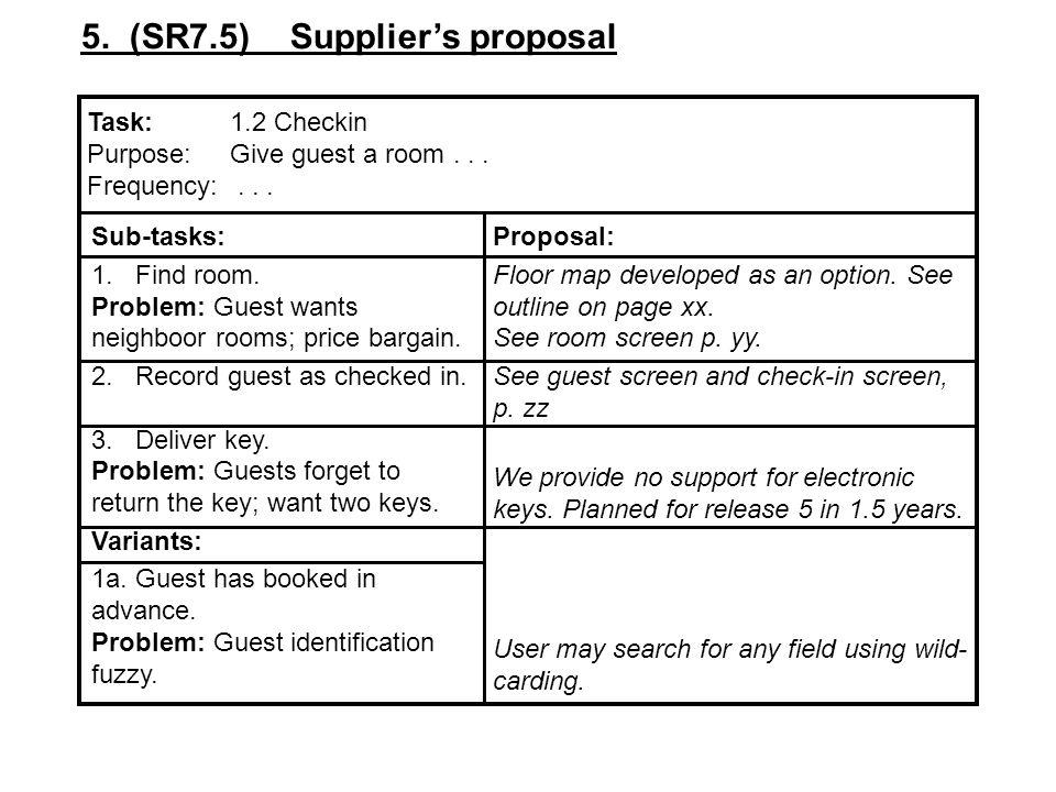 5. (SR7.5) Supplier's proposal