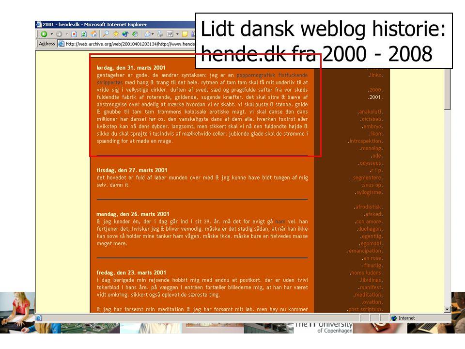 Lidt dansk weblog historie: hende.dk fra 2000 - 2008