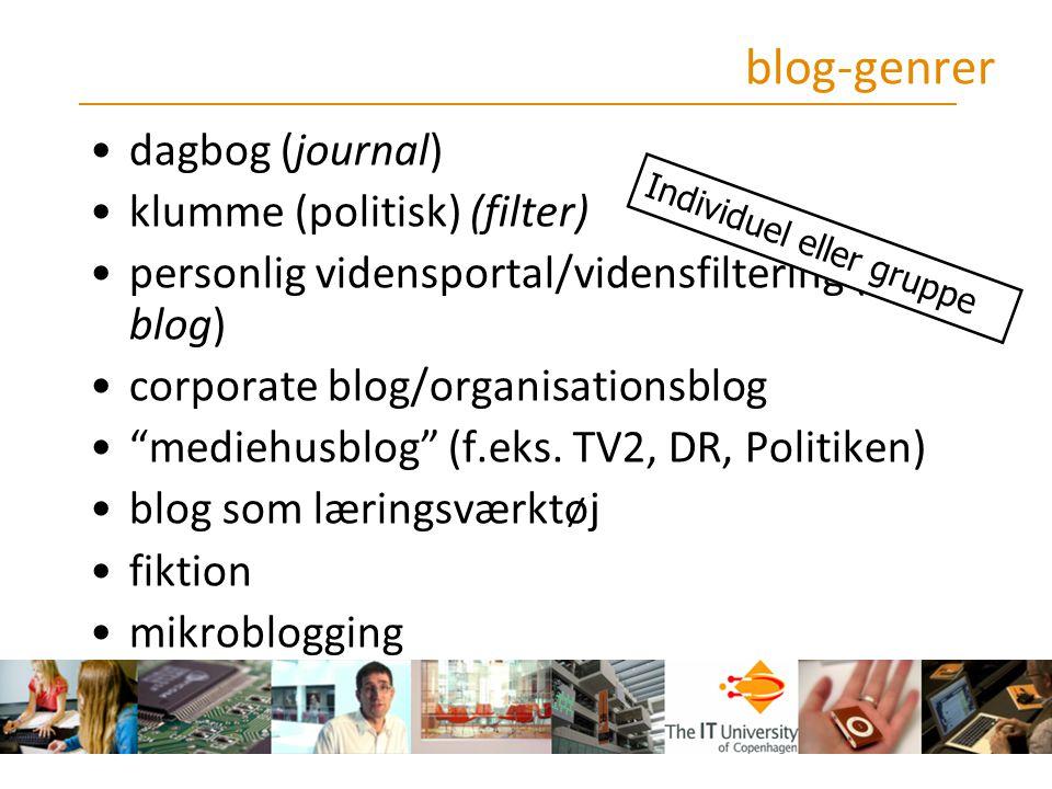 blog-genrer dagbog (journal) klumme (politisk) (filter)