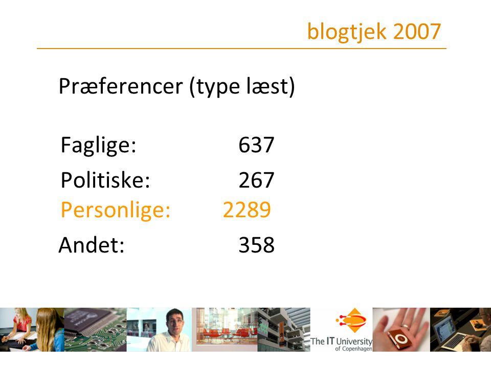 blogtjek 2007 Præferencer (type læst) Faglige: 637.