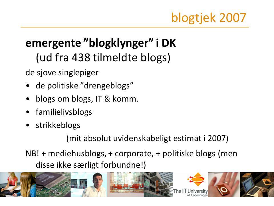 blogtjek 2007 emergente blogklynger i DK (ud fra 438 tilmeldte blogs) de sjove singlepiger. de politiske drengeblogs