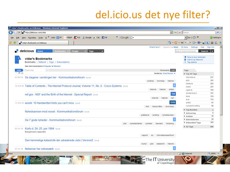 del.icio.us det nye filter